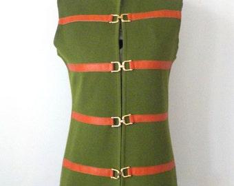 Vintage 1970s Gina Teresa Vest • Vintage Olive Green Tunic Sweater Vest • Vintage Mod Vest