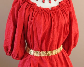 Embroidered Red Cotton Chemise  Renaissance Costume Dress Chemise Medieval Peasant Shirt