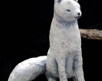 Arctic Fox Sculpture, Folk Art Sculpture