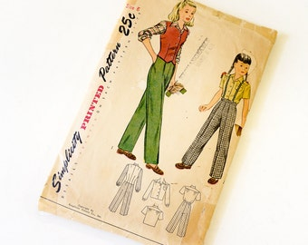 Vintage 1940s Girls Size 6 Slacks, Weskit and Blouse Simplicity Sewing Pattern 2003 Complete / bust 24 waist 22