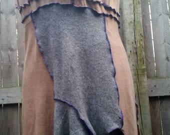 XL Upcycled Cotton Sweater Dress grey wool panels OOAK Recycled...reuse, eco-friendly, boho, hippie, patchwork, wearable art