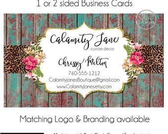 Custom PreMade Business Cards - Calamity Jane - Watercolor Boutique Business Cards, Arrow Business Cards, Custom Business Cards