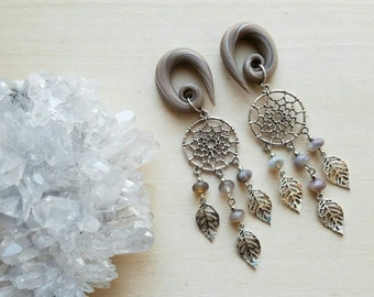 Silver Lace Agate Dream Catcher Dangle Gauged Earring Plugs with Real Gemstones