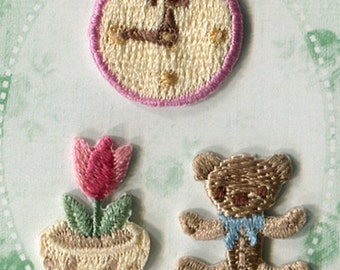 Bear & Clock Patch - Embroidered Iron On Patch, Tulip Applique, Flower, Natural, Japanese Iron on Applique, Embroidery Applique, 3PCS, W330