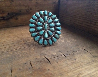 Vintage Navajo Nathanial & Rosemary Nez petit point cluster pendant brooch matrix turquoise, Native American old pawn, Navajo pendant