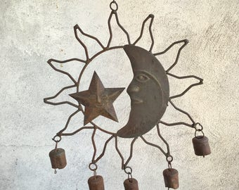 Vintage celestial wind chime rusty metal cow bells, sun and moon stars, metal windchimes, patio decor, bohemian decor, front porch decor