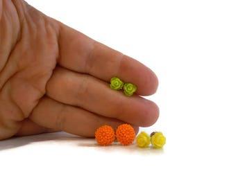 Tiny Flower Earrings Set, Yellow and Green Roses, Orange Mums, Cute Earrings for Tween Girls, Tween Girl Gifts Under 20, Tween Jewelry