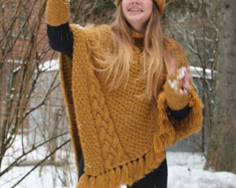 Very Warm, Super soft, Chunky Fringle Hand Knit Cable Cape, Poncho, Sweater, Alpaca Knit Poncho, Winter Accessories, Boho Chic, Gypsy,