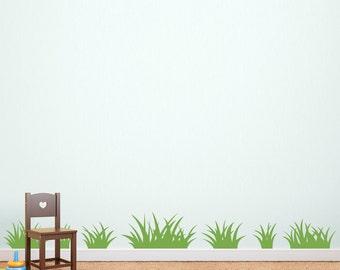 Grass Wall Decal - Set of 7 Grass Patches - Children Wall Decal - Coordinating decal set for Tree Decal - Ver. 2
