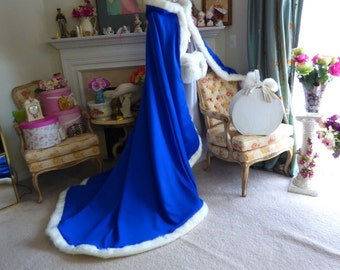 Beauty And The Beast Bridal Cape 52/86-inch Royal-Blue / White SatinWedding Cloak Hooded  with Fur Trim Handmade in USA