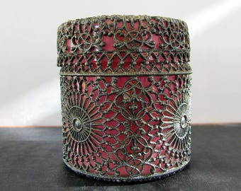 Box Victorian Filigree Pewter Lead over Glass 1890s Pink Jewelry Box