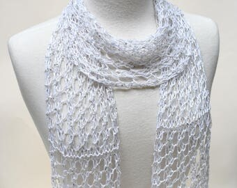 Sequined Linen Scarf/ Hand Knit/ White