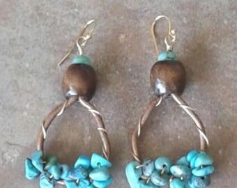 Leather Hoop Earrings Turquoise Boho Beachy