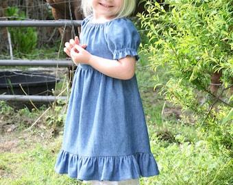 Little Girls Long Modest Blue Jean Denim Ruffled Short Sleeve Peasant Dress Size 2