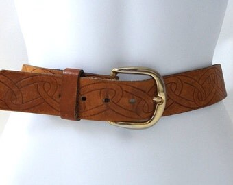 vintage 1960's brown leather tooled belt sz 36 mens womens fashion clothing hippie boho retro chain link celtic brass buckle cinnamon brown
