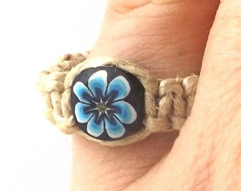 blue daisy flower vintage 1990's hemp ring macrame jewelry fashion accessories modern womens teens polymer clay bead smiley face happy