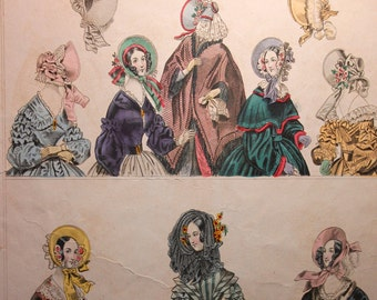 Vintage Godey's Fashion Color Print featuring Hats