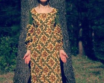Size XS... 1970s Vintage Renaissance Faire Maxi Dress... Botanical Tapestry and Green Velvet