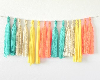 Fiesta Tassel Garland, Teal and Orange, Boho Garland, Lace Garland, Tassel Banner, Fabric Garland, Fiesta Decorations, Lemon Wedding Garland