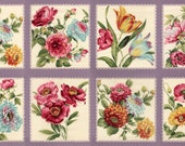 FELICITY PURPLE moda fabric Panel Roses flowers quilting sewing Lilac Lavender border dahlias poppies peonies lace red aqua pink 32600-12