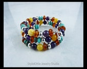 Turquoise, Amber and Amethyst Layered Memory Wire Bracelet with 925 Sterling Silver Accents, Butterscotch, Cognac, Multi Stone, Multi Color