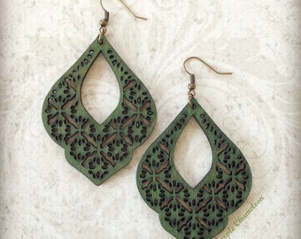 Green Filigree Drop Wood Earrings Gypsy Boho African Tichel Accessory Earrings Large Wooden Lightweight Earrings Eco Jewelry