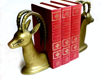 Gazelle Bookends, Vintage Brass Antelope Bookends, Gazelle Brass Bookends, Solid Brass Library Bookends, Antelope Bookends, Brass Doorstops
