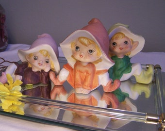 3 Homco Pixie Elf Figurines, Hand Painted, Shelf Sitter Elves, Complete Set, 70s, 80s, Home Interior Figurines, Porcelain Elves