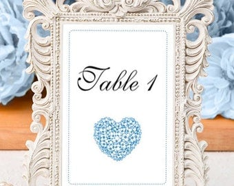 Table Numbers - Blue Hyrdrangea Heart / Summer Wedding / Bridal Shower / Baby Shower / Party