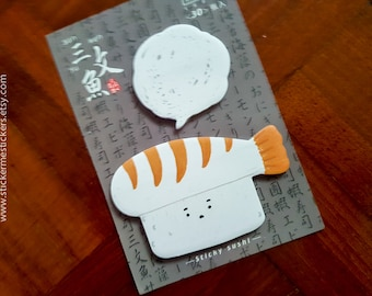 Sushi sticky note, Sushi post it, Onigiri post it, Prawn sticky note, Prawn post it, Food sticky note