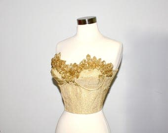 DOLCE & GABBANA Vintage Metallic Gold Bustier Embellished Beaded Flower Corset - AUTHENTIC -