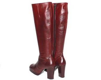 Vintage PLATFORM BOOTS Maroon Leather 1970s the Bootery Skyhigh 6.5