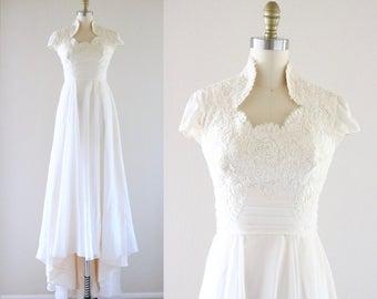 1970's lace wedding dress