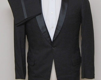 1960s men's black wool tuxedo/ 60s men's black wool tuxedo/ After Six