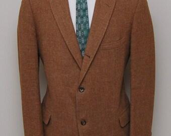 1950s men's brown wool tweed blazer/ 50s men's brown tweed blazer/ Harris Tweed