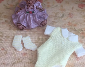 Miniature Baby Socks and Yellow Onesie Outfit, Dollhouse Miniature, 1:12 Scale, Dollhouse Accessory, Nursery, Shower, Topper, Gift