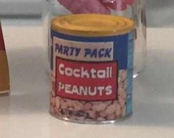 Miniature Cocktail Peanuts Can, Mini Snack Food, Dollhouse Miniature, Miniature Food, Dollhouse Miniature, 1:12 Scale, Pretend Food