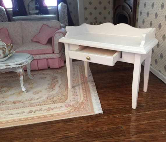 Miniature White Desk With Drawer, Dollhouse Miniature Furniture, 1:12 Scale, Mini White Table, Desk