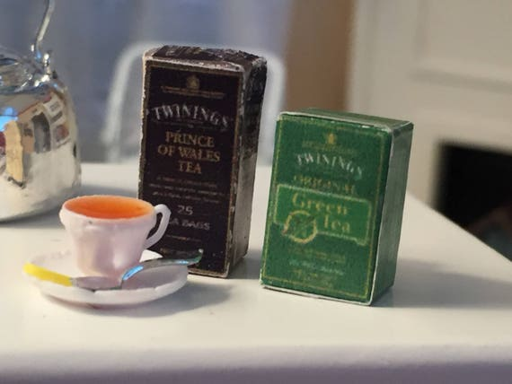 Miniature English Tea, Filled Cup of Tea with Lemon and Spoon and 2 Tea Boxes, Dollhouse Miniatures, 1:12 Scale, Dollhouse Accessories