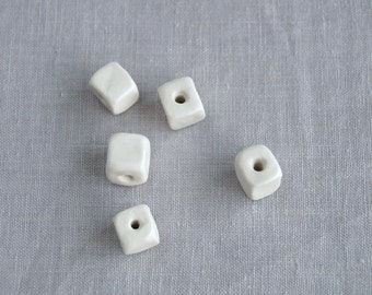 Five porcelain cube beads, 11mm 14mm, 2mm hole, 4mm hole, artisan beads, porcelain beads, ceramic beads