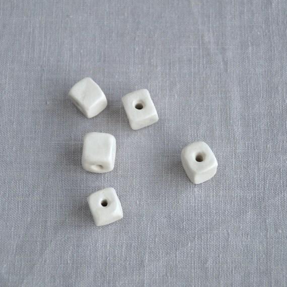 Five porcelain cube beads, 11mm 14mm, 2mm hole, 4mm hole, artisan beads, porcelain beads, ceramic beads