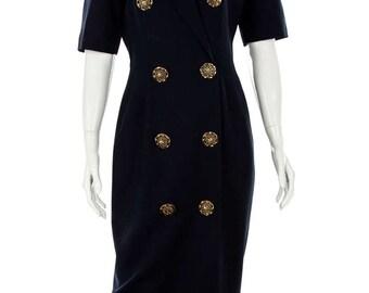 Vintage 80s Joseph Ribkoff Navy Blue Gold Button Dress, Size 4