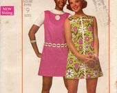 1960s Simple Shift Dress Pattern - Vintage Simplicity 8631 - Size 12 Bust 34