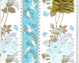 Vintage Wrapping Paper - Blue White & Gold Floral Doves - Wedding Giftwrap NIP