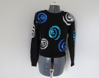 Vintage 1980s Blue & Silver Sequin on Black Sweater - Womens Bust 36 by Extra Energy