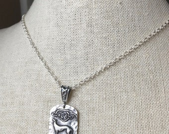 Celtic Cosmo Greyhound Fine Silver Medium Pendant Sterling Silver Cable Chain Necklace Greyhound
