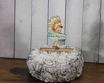 Baby Shower Cake Topper/Name/baby Native American/Personalized/Party Decor/Cake Decor/Cake Decor/Birthday/Tribal/Feathers/Arrows