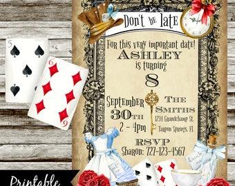 Alice in Wonderland Invite - PRINTABLE