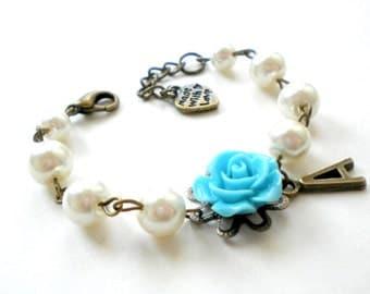 Initial Bracelet Personalized Flower Girl Gift Baby First Pearls Infant Bracelet Personalized Flower Girl Bracelet Blue Newborn Bracelet