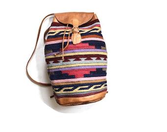 Vintage Leather Backpack / Tribal Backpack / Drawstring Backpack / Southwestern Textile Bag / Kilim Backpack / Overnight Knapsack